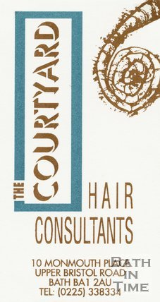 Trade Card for COURTYARD hair consultants 10 Monmouth Place, Upper Bristol Road, Bath 1994