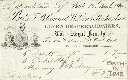 Trade Card for T. B. COWARD, Wilson & Richardson 17 Bond Street, Bath 1800