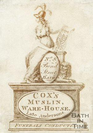 Trade Card for COX's muslin warehouse (late Andersons) 8 Bond Street, Bath 1810