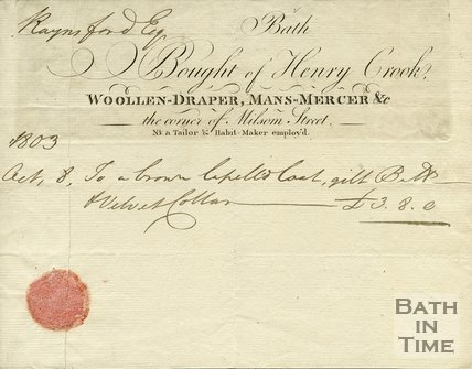 Trade Card for Henry CROOK Corner of Milsom Street, Bath 1803