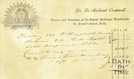 Trade Card for Richard CRUTTWELL St. James Street, Bath 179?