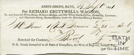 Trade Card for Richard CRUTTWELL Abbey Green, Bath 1821