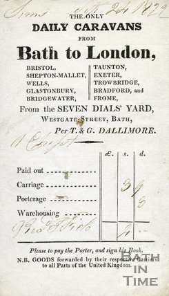 Trade Card for T. & G. DALLIMORE Seven Dials' Yard, Westgate Street, Bath 1822