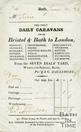 Trade Card for T. & G. DALLIMORE Seven Dials' Yard, Westgate Street, Bath 1823