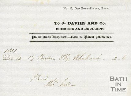 Trade Card for J. DAVIES and Co. 15 Old Bond-Street, Bath c.1833-1841