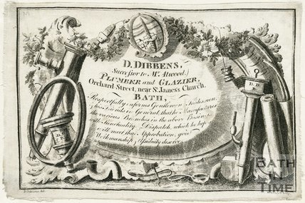 Trade Card for Daniel DIBBENS - successor to Mr. Atwood Orchard Street, near St. James' Church, Bath 1800
