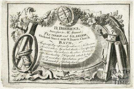 Trade Card for Daniel DIBBENS - successor to Mr. Atwood Orchard Street, near St. James' Church, Bath 1800