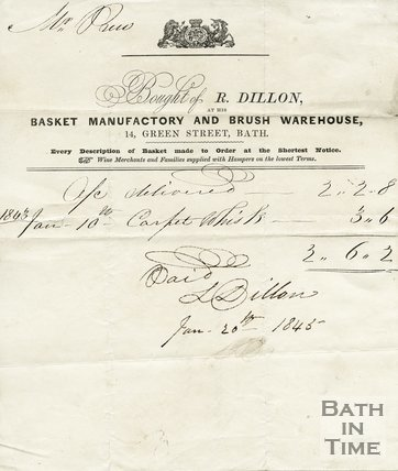 Trade Card for R. DILLON 14 Green Street, Bath 1843