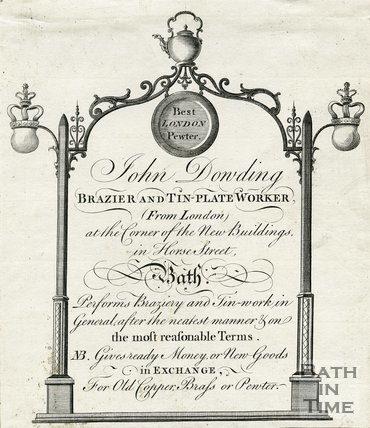 Trade Card for John DOWDING Horse Street, Bath 1782-90
