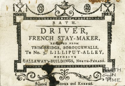 Trade Card for William DRIVER, 3 Lilliput Alley, opposite Gallaway Buildings, North Parade, Bath 1793