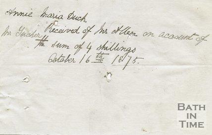 Trade Card for Annie Maria DUCK of Bath, 1875