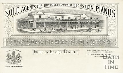 Trade Card for DUCK, Son & Pinker Pulteney Bridge, Bath 1848