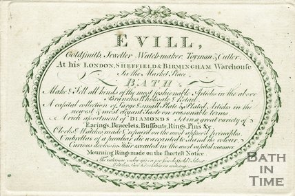Trade Card for William EVILL Market Place, Bath 1780?