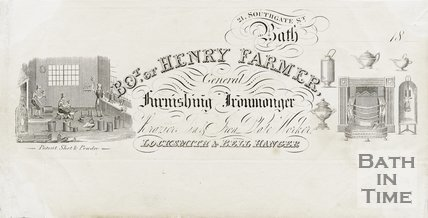 Trade Card for Henry FARMER 21 Southgate Street, Bath 1833