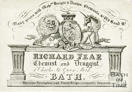 Trade Card for Richard FEAR 1 Charles Street, Green Park, Bath 1826