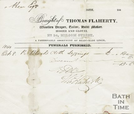 Trade Card for Thomas FLAHERTY 24 Milsom Street, Bath 1840
