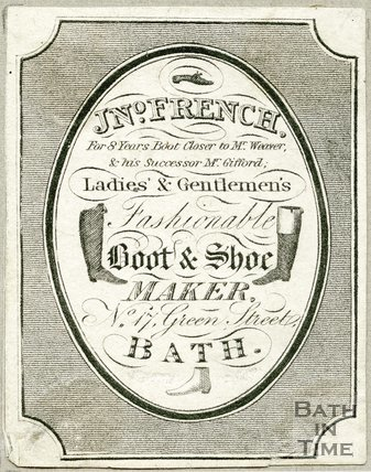 Trade Card for Jno. FRENCH (former employee of Mr. Weazer) 17 Green Street, Bath