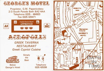 Trade Card for GEORGE's Hotel 2/3 South Parade, Bath 1994