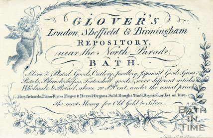Trade Card for GLOVER's near North Parade, Bath c.1827