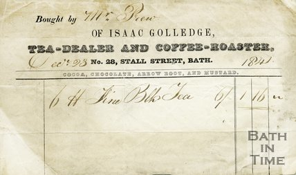 Trade Card for Isaac GOLLEDGE 28 Stall Street, Bath 1841