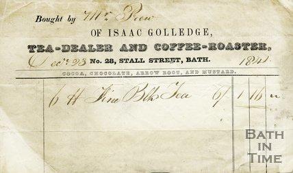 Trade Card for Isaac GOLLEDGE 28 Stall Street, Bath 1841