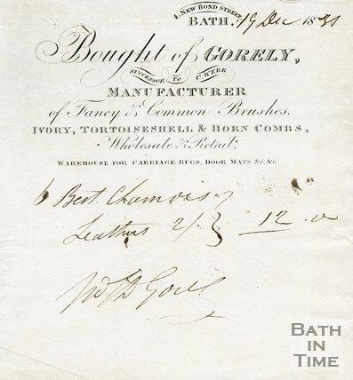 Trade Card for GORELY (successor to C. Webb) 4 New Bond Street, Bath 1881