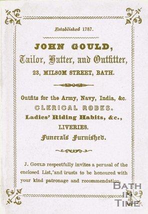 Trade Card for John GOULD 23 Milsom Street, Bath 18??