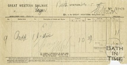 Trade Card for GREAT Western Railway, Bath Spa Station 1918