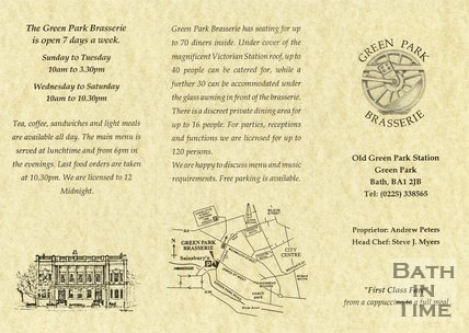 Trade Card for The GREEN Park Brasserie Old Green Park Station, Green Park, Bath 1993