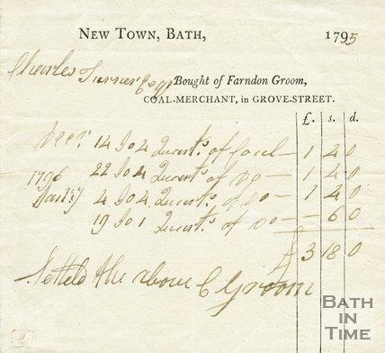 Trade Card for Farndon GROOM Grove Street, Bath 1795