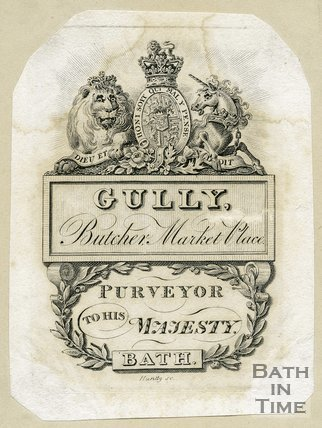 Trade Card for John GULLY Market Place, Bath 1802?