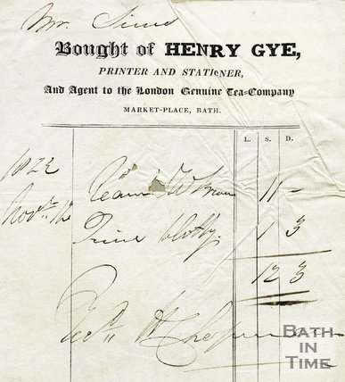 Trade Card for Henry GYE, Market Place, Bath 1823