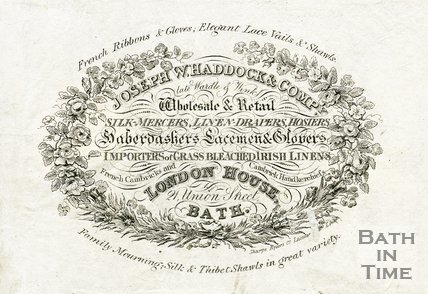 Trade Card for Joseph W. HADDOCK & Co. (late Wardle & Wink) 21 Union Street, Bath 1828