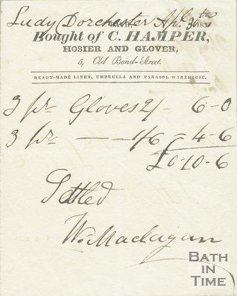 Trade Card for C. HAMPER 5 Old Bond-Street, Bath 1831