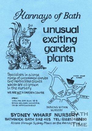 Trade Card for HANNAYS of Bath Sydney Wharf Nursery, Bathwick, Bath 1995