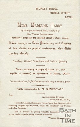 Trade Card for Mme. Madeline HARDY (pupil of Mr. Wm. Shakespeare) Bromley House, Russell Street, Bath 19??