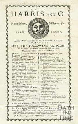 Trade Card for HARRIS and Co. At The Sun, The Walks (next to Mr. Wiltshire's Rooms) i.e. Terrace Walk, Bath 1770