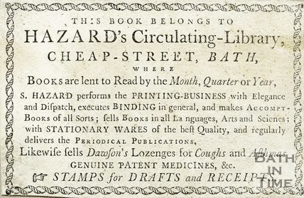 Trade Card for HAZARD's Cheap Street, Bath 1781-1806