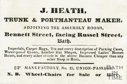 Trade Card for J HEATH Bennet Street, Bath