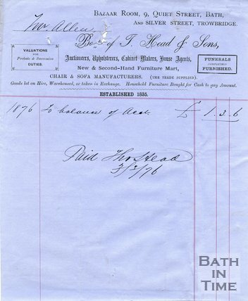 Trade Card for HEAD & Sons Bazaar Room, 9 Quiet Street & Silver Street, Trowbridge 1876