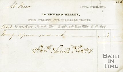 Trade Card for Edward HEALEY, 8 Stall Street, Bath 1842