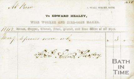 Trade Card for Edward HEALEY, 8 Stall Street, Bath 1842