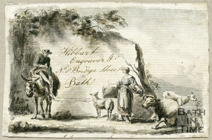 Trade Card for John? HIBBART i.e. Hibbert 8 Bridge Street, Bath 1790?