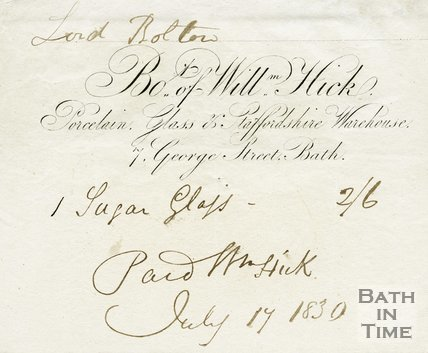 Trade Card for William HICK 7 George Street, Bath 1830
