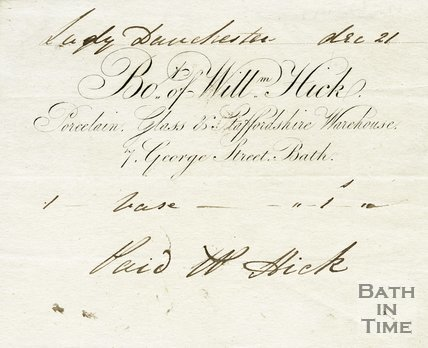 Trade Card for William HICK 7 George Street, Bath 1830?