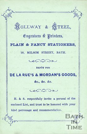 Trade Card for HOLLWAY & Steel 10 Milsom Street, Bath
