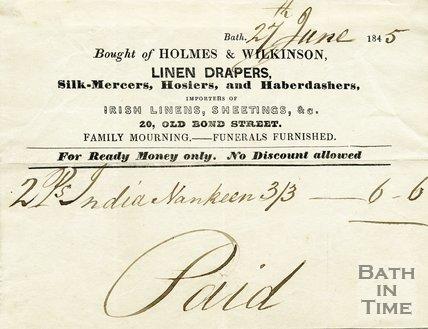 Trade Card for HOLMES & Wilkinson 20 Old Bond Street, Bath 1845
