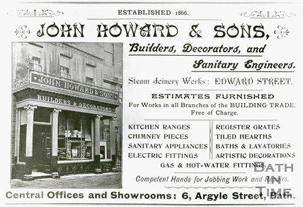 Trade Card for John HOWARD & Sons 6 Argyle Street, Bath