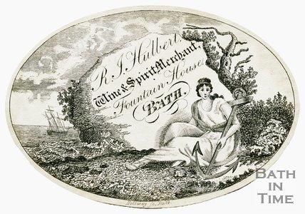 Trade Card for Robert John HULBERT Fountain House 3 Fountain Buildings, Bath 184?