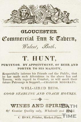 Trade Card for T. HUNT Gloucester Commercial Inn & Tavern, Walcot, Bath